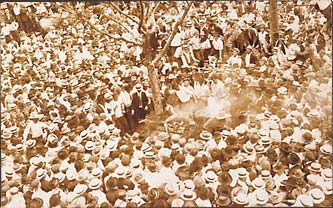 Spectators at the lynching of Jesse Washington. May 16, 1916. Waco, Texas.  Gelatin silver print.  Real Photo postcard.  5 1/2 X 3 1/2 in.